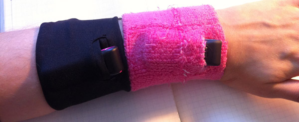 Fitbit wristband (left) and my homemade wristband (right)