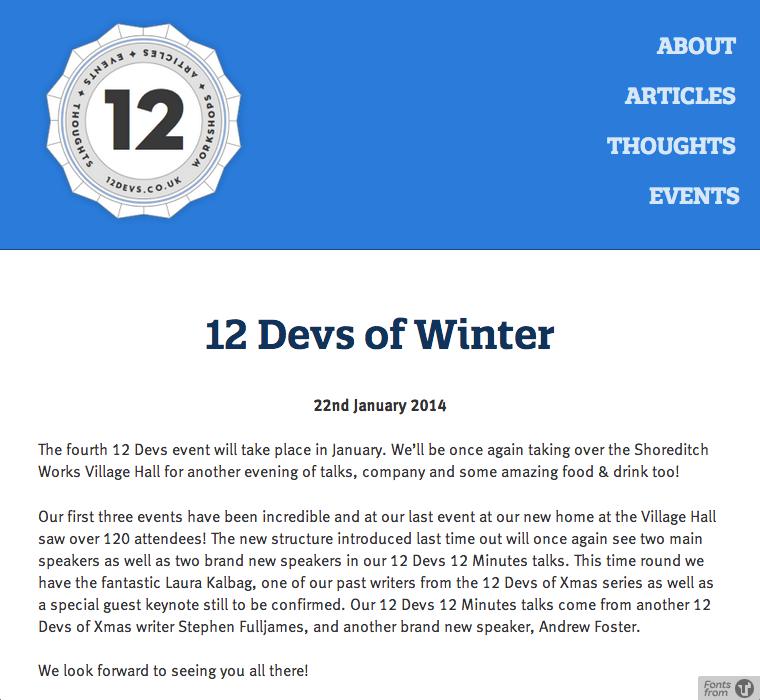 12 Devs of Winter website