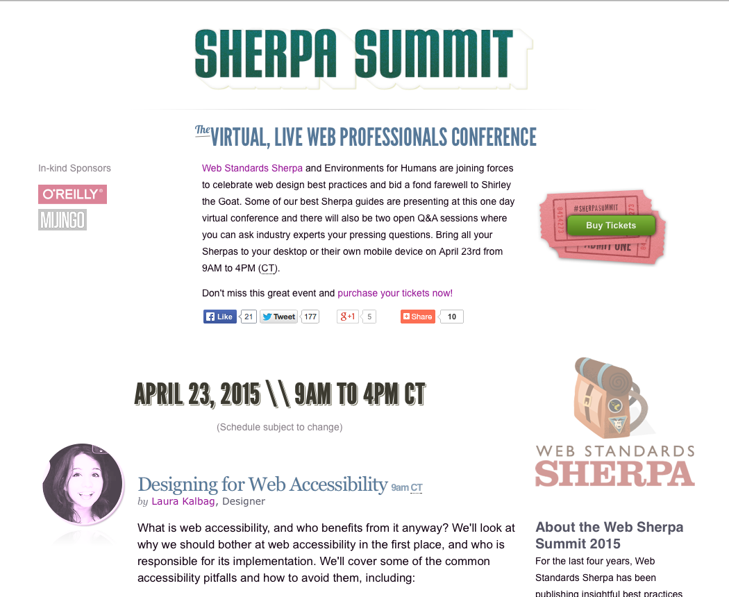 Sherpa Summit - the virtual, live, web professionals conference