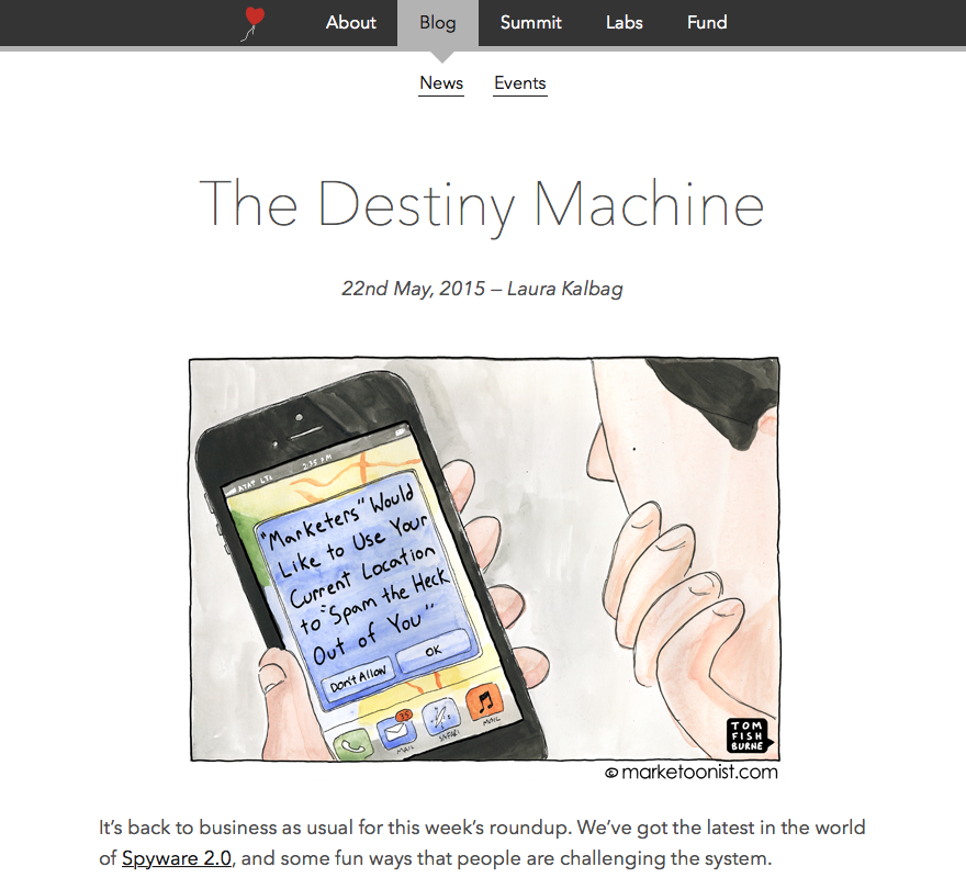 Screenshot of the Ind.ie Roundup titled The Destiny Machine