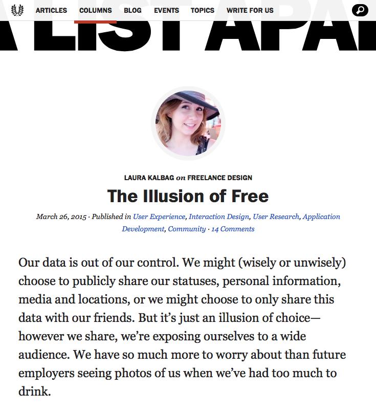 Screenshot of column on The Illusion of Free