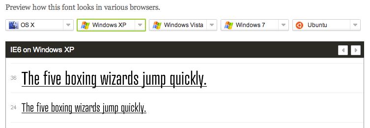 Typekit preview of Atrament Web on Windows XP Internet Explorer 6