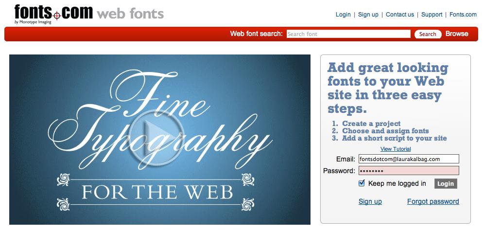 Fonts.com Web Fonts using about a million fonts