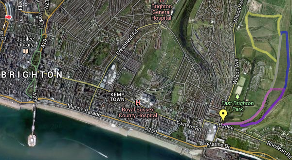 Brighton and the walking route around East Brighton Park/Sheepcote valley