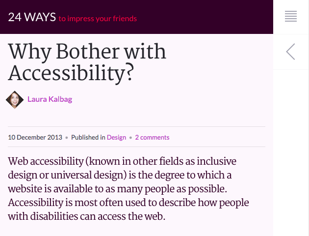 Why Bother With Accessibility? on 24ways
